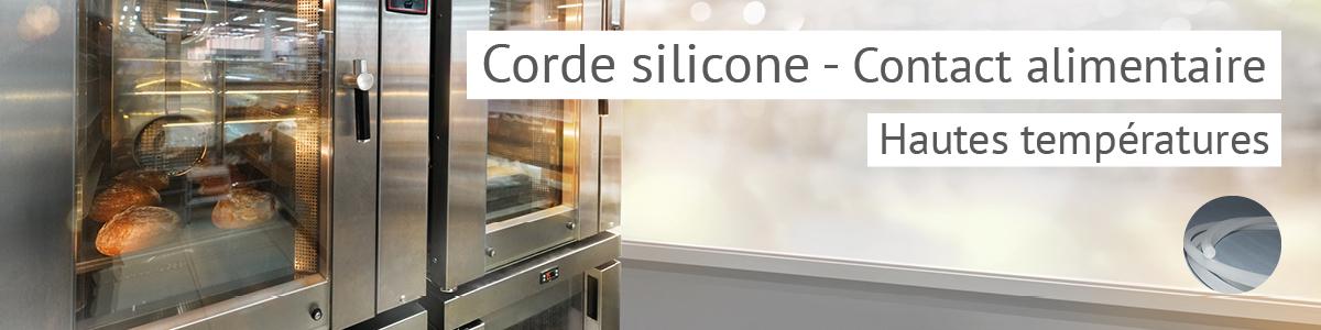 Corde ronde silicone, emploi jusqu'à 200°C