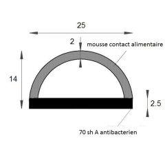 PM02043/F2634 - Profilé bi-dureté alimentaire - Couronne 25 m